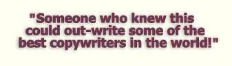 """""""Someone who knew this could outwrite some of the best copywriters in the world!"""""""